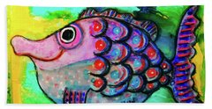 Beach Towel featuring the mixed media Oscar The Nosefish by Mimulux patricia No