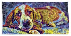 Otis The Potus Basset Hound Dog Art  Beach Towel