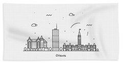 Ottawa Cityscape Travel Poster Beach Towel