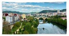 Ourense And The Roman Bridge From The Millennium Bridge Beach Towel