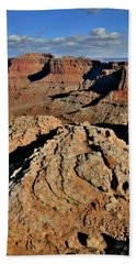 Overlooking Shafer Canyon And Trail In Canyonlands Np Beach Towel
