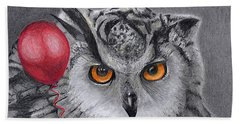 Owl With The Red Balloon Beach Towel