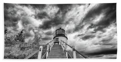 Beach Towel featuring the photograph Owls Head Lighthouse In Black And White by Rick Berk