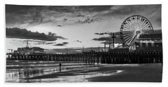 Pacific Park - Black And White Beach Towel