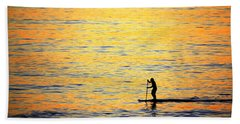 Beach Towel featuring the photograph Paddle Boarder Malibu by John Rodrigues