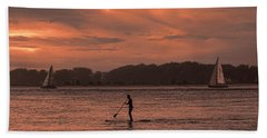 Paddleboarding On The Great Peconic Bay Beach Towel