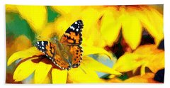 Painted Lady Butterfly Van Gogh Beach Towel