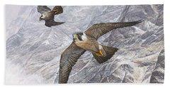 Pair Of Peregrine Falcons In Flight Beach Towel