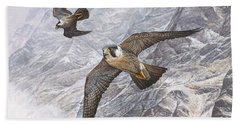 Beach Towel featuring the painting Pair Of Peregrine Falcons In Flight by Alan M Hunt
