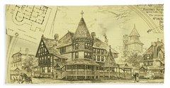 Pair Of Twin Cottages, Hastings Square, Spring Lake, Nj Beach Towel