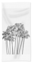 Palm Tree Grove In Black And White Beach Towel