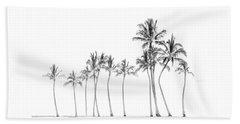 Palm Tree Horizon In Black And White Beach Sheet