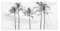 Palm Trees On The Beach In Black And White Beach Towel