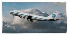Pan American Boeing 747 At Los Angeles Airport Beach Towel