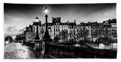 Paris At Night - Pont Neuf Beach Sheet
