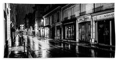 Paris At Night - Rue Saints Peres Beach Sheet