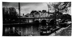 Paris At Night - Seine River Towards Pont Neuf Beach Towel
