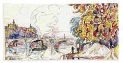 Paris, Pont Royal And The Gare D'orsay - Digital Remastered Edition Beach Towel