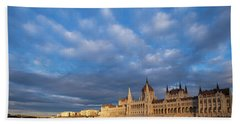 Parliament On The Danube Beach Towel