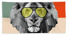 Party Lion In Glasses Beach Towel