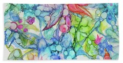 Pastel Flowers - Alcohol Ink Beach Towel