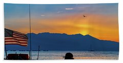 Beach Towel featuring the photograph Patriot On The Lake by Robert FERD Frank