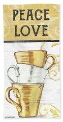 Peace, Love, Coffee 2 Beach Towel