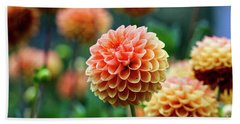 Peach Dahlias Beach Towel