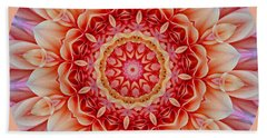 Peach Floral Mandala Beach Towel