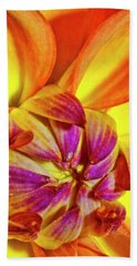 Peach Purple Flower Beach Towel