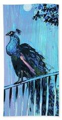 Peacock On A Fence Beach Sheet