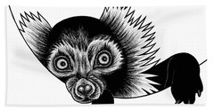 Peeking Lemur - Ink Illustration Beach Towel