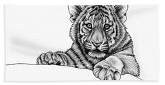 Peeking Tiger Cub Beach Towel