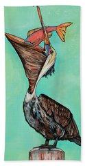 Pelican On The Edge Beach Sheet
