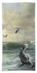 Pelicans In The Surf Beach Towel