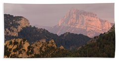 Beach Towel featuring the photograph Pena Montanesa Sunset Panorama by Stephen Taylor