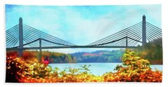 Penobscot Narrows Bridge In Autumn Beach Sheet
