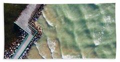 Pentwater Waves Aerial Beach Towel