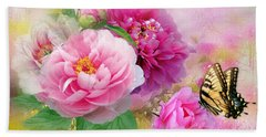 Peonies And Butterfly Beach Towel