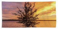 Percy Priest Lake Sunset Young Tree Beach Towel