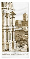 Philadelphia City Hall And Wanamaker Store C 1900 Vintage Photog Beach Towel