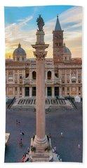 Beach Towel featuring the photograph Piazza Santa Maria Maggiore by Fabrizio Troiani