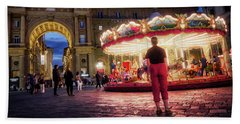 Piazza Della Reppublica At Night In Firenze With Painterly Effects Beach Towel
