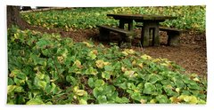 Picnic  Table In The Forest  Beach Towel