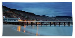 Beach Towel featuring the photograph Pier House Malibu by John Rodrigues