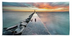 Pier Sunset In Frankfort Beach Towel