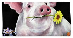 Pig With Flowers Beach Towel