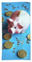 Piggy Bank On The Background With The  Chocoladen Coins Beach Sheet