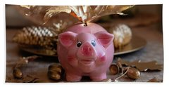 Piggy Bank On The Golden Background Beach Towel