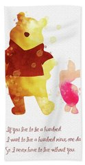 Piglet And Pooh Watercolor 3 Beach Towel